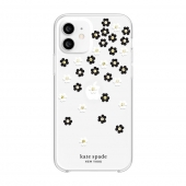 Kate Spade New York Protective Hardshell Case for iPhone 12/12 Pro, Scattered Flowers Black (KSIPH-153-SFLBW)