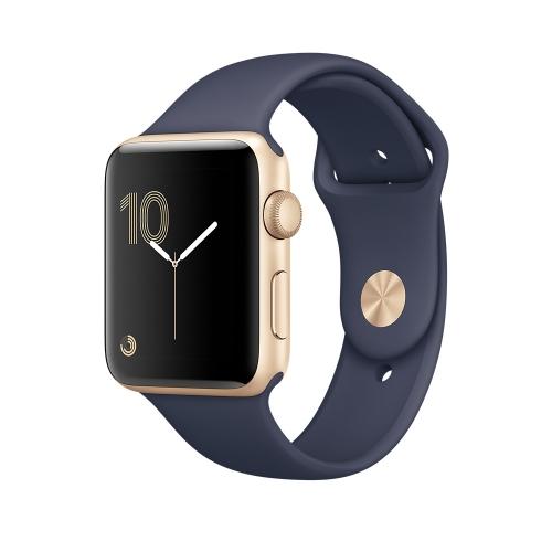 Часы Apple Watch Series 2 38mm Gold Aluminum Case with Midnight Blue Sport Band (MQ132)
