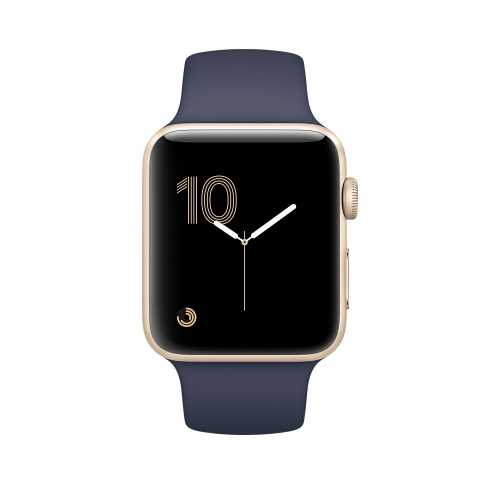 Часы Apple Watch Series 2 38mm Gold Aluminum Case with Midnight Blue Sport Band (MQ132)