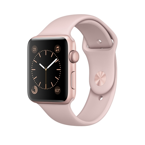 Часы Apple Watch Series 1 42mm Rose Gold Aluminium Case with Pink Sand Sport Band (MQ112)