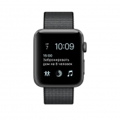 Apple Watch Series 2 38mm Space Gray Aluminum Case with Black Woven Nylon Band (MP052)