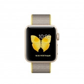 Часы Apple Watch Series 2 38mm Gold Aluminum Case with Yellow/Light Gray Woven Nylon Band (MNP32)