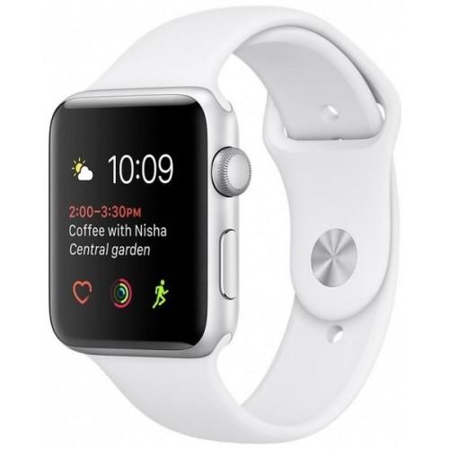 Часы  Apple Watch Series 2 42mm Silver Aluminum Case with White Sport Band (MNPJ2)