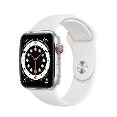 Apple Watch Series 6 GPS + Cellular 44mm Silver Aluminum Case w. White Sport B. (M07F3)