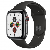 Apple Watch Series 5 GPS + Cellular 44mm Space Black Stainless Steel Case with Black Sport Band (MWW72, MWWK2)