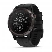 Спортивные часы Garmin Fenix 5 Plus Carbon Gray DLC Titanium with Black Silicone Band (010-01988-20)