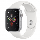 Apple Watch Series 5 GPS 40mm Silver Aluminum w. White b.- Silver Aluminum (MWV62) - Акция