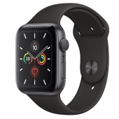 Apple Watch Series 5 40mm Space Gray Aluminium Case with Black Sport Band (MWV82) - Акция