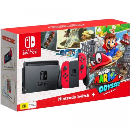 Nintendo Switch Neon Red + Игра Mario Odyssey