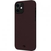 Pitaka MagEZ Case for iPhone 12, Plain Black/Red (KI1204M)