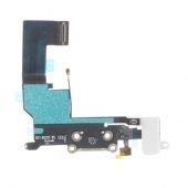 Шлейф зарядки и гарнитуры (Flat Cable Charger Connector with HF) для iPhone SE White Original