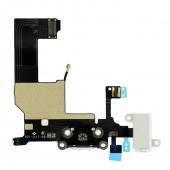 Шлейф зарядки и гарнитуры (Flat Cable Charger Connector with HF) для iPhone 5 Copy White