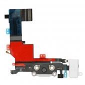 Шлейф зарядки и гарнитуры (Flat Cable Charger Connector with HF) для iPhone 5S White Original
