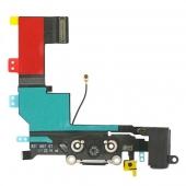 Шлейф зарядки и гарнитуры (Flat Cable Charger Connector with HF) для iPhone 5S Black Original