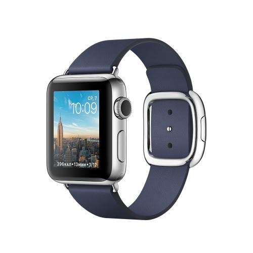 Часы Apple Watch Series 2 38mm Stainless Steel Case with Midnight Blue Modern Buckle - Medium (MNP92)