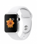Часы Apple Watch 38mm Stainless Steel with White Sport Band (MJ302)