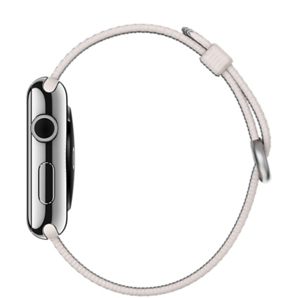 Часы Apple Watch 42mm Stainless Steel Case with Pearl Woven Nylon (MMG02)