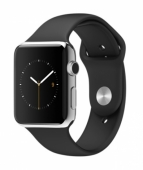 Часы Apple Watch 42mm Stainless Steel with Black Sport Band (MJ3U2)