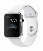 Часы Apple Watch 42mm Stainless Steel with White Sport Band (MJ3V2)