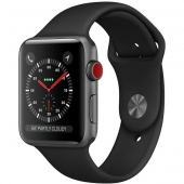 NEW Apple Watch Series 3 GPS + Cellular 38mm Space Gray Aluminum w. Black Sport B. (MQJP2)