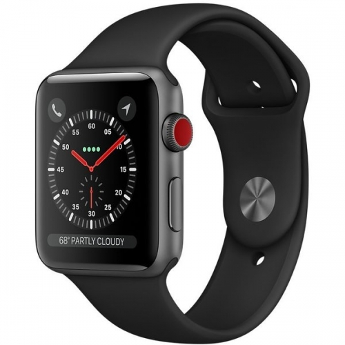 Apple Watch Series 3 38mm GPS+LTE Space Gray Aluminum Case with Black Sport Band (MQJP2)