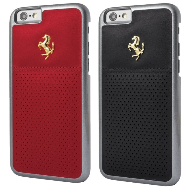 Чехол Ferrari GTB Perforated Leather Hard Case Gold Logo for iPhone 6/6S