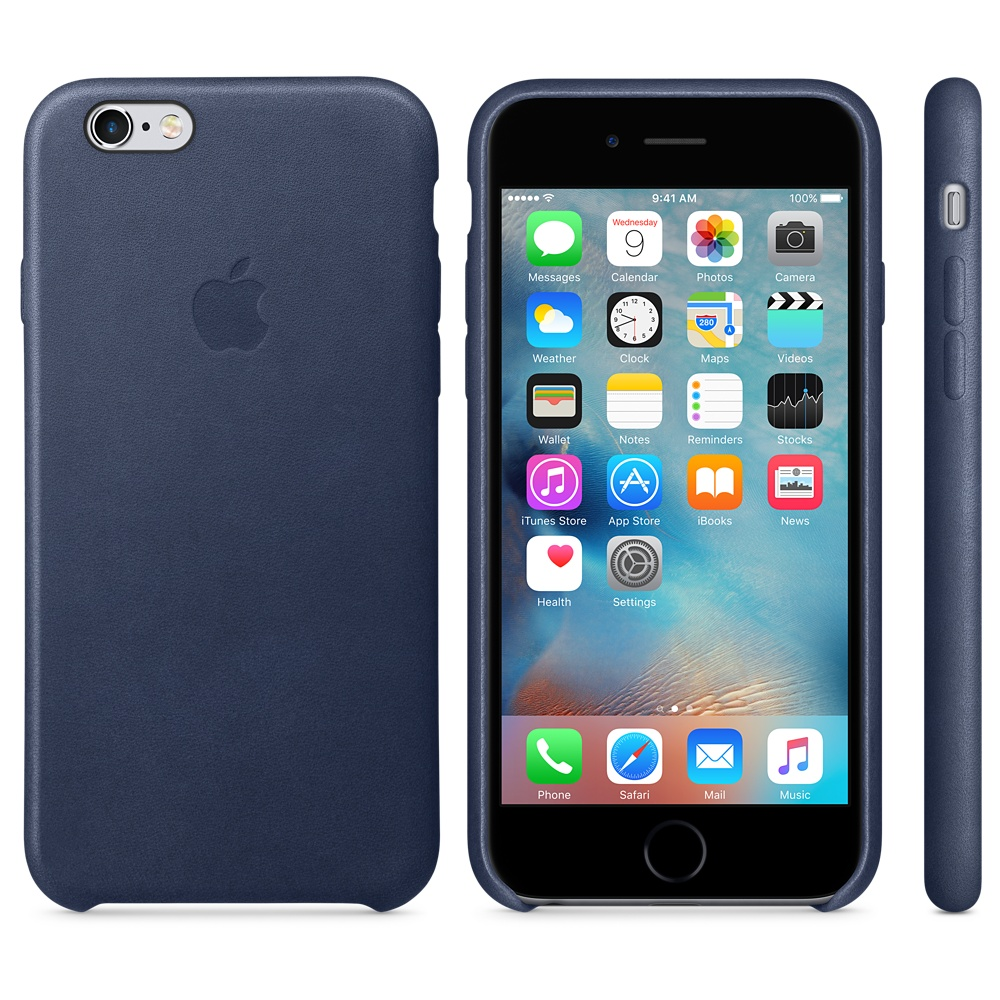 Чехол Apple Leather Case for iPhone 6S Midnight Blue